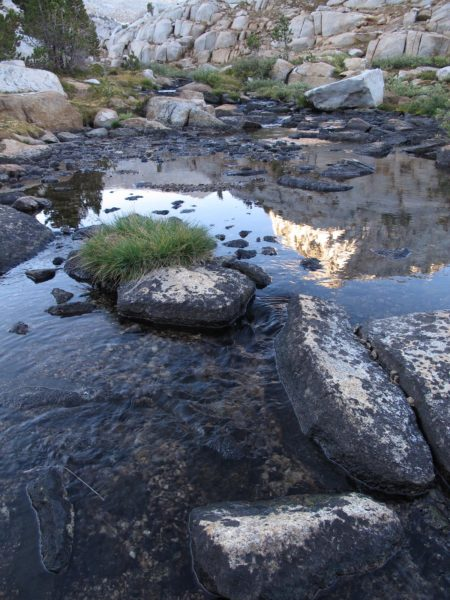 Reflection of mountain peak in a quiet stream