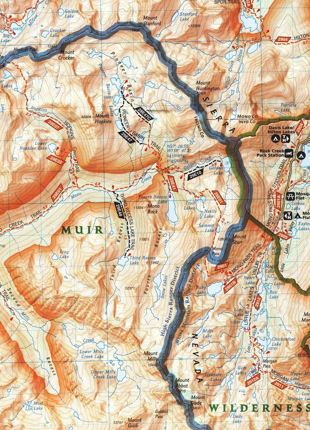 Mono Pass backpack topo map